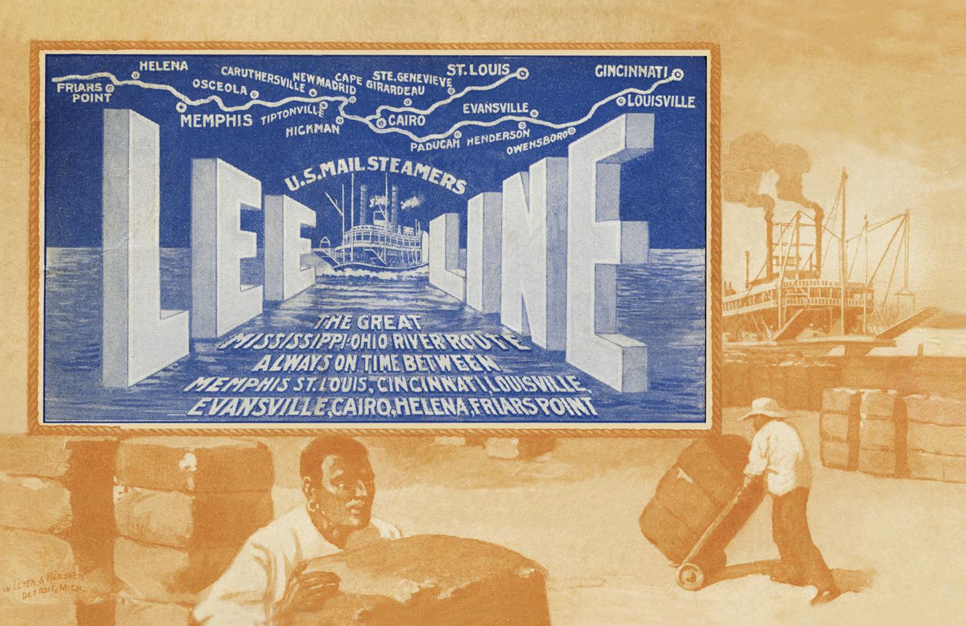 circa 1900's Lee Line ad postcard