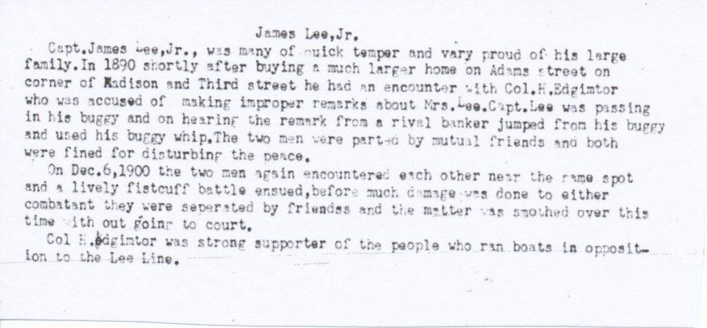 James Lee Jr fistic encounter